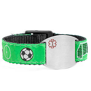 Medical ID Bracelet with soccer print. Engraving is possible at the front and back.
