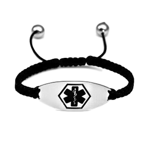 Medical ID bracelet,Satin Black with black symbol. Engraving only possible at the back.