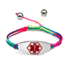 Medical ID bracelet, Rainbow Satin with red symbol. Engraving only possible at the back.