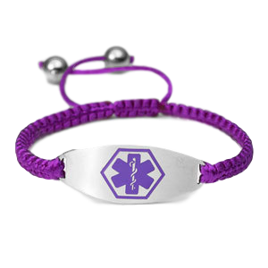 Medical ID bracelet, Purple satin with a purple symbol. Engraving only possible at the back.