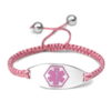Medical ID bracelet, Pink satin with a pink symbol. Engraving only possible at the back.