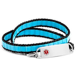 Medical ID bracelet, leather with Agua blue shell. Engraving possible at the front and back.