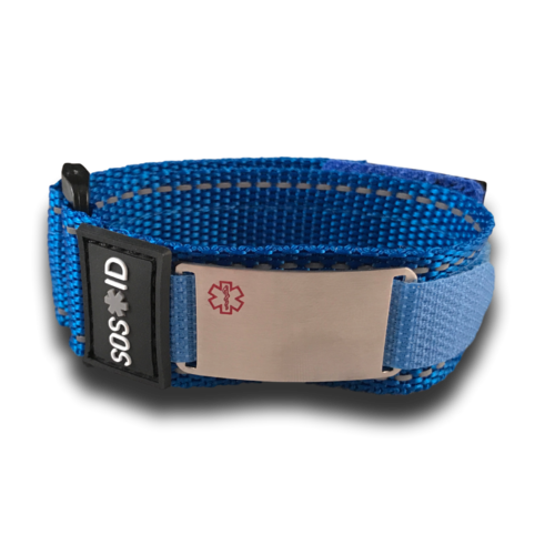 Medical ID sportbracelet, Blue. Engraving possible at the front & back.