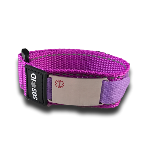 Medical ID sportbracelet, Purple. Engraving possible at the front & back.