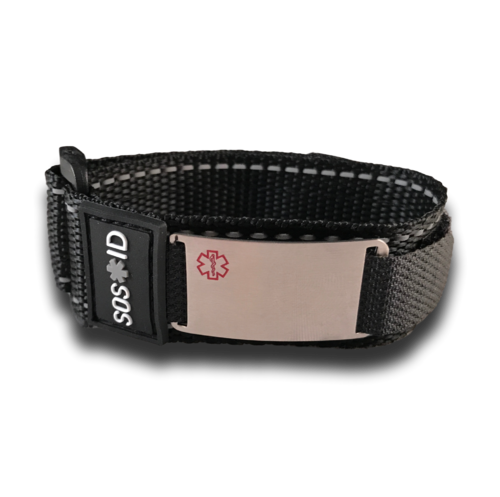 Medical ID sportband, Black. Engraving possible at the front & back.