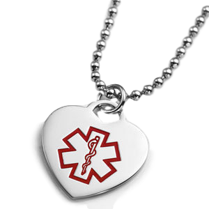Heart-shaped pendant with red medical symbool