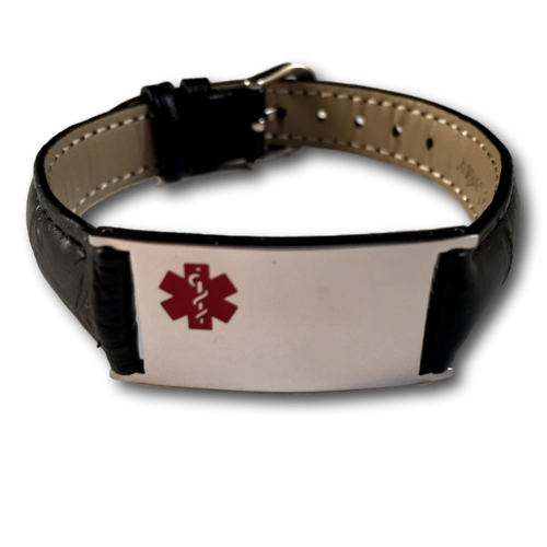 "Medical ID bracelet, Black ""snake"" leather. Engraving possible at the front & back."