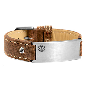 Medical ID bracelet, Brown Leather and stainless steel Tag. engraving possible at the front & back