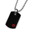 Black medical Dog-Tag with a small red medical symbol