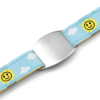 SOS ID Bracelet, light blue with Clouds and Sun print. Engraving is possible at the front and back
