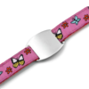 SOS ID Bracelet Pink with Butterfly and flower print. Engraving is possible at the front and back