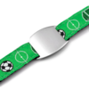 SOS ID Bracelet with a Soccer Print. Engraving is possible at the front and back.