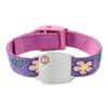 Medical ID Bracelet, purple and pink with flowers. Engraving is possible at the front and back