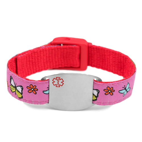 Medical ID bracelet, purple and red with flowers & butterflies