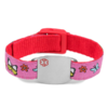 Medical ID bracelet, pink and red with flowers & butterflies