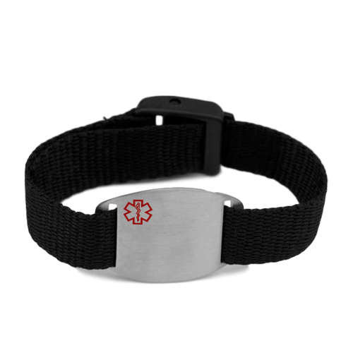 Medical ID bracelet, Black. Engraving possible at the front and back.