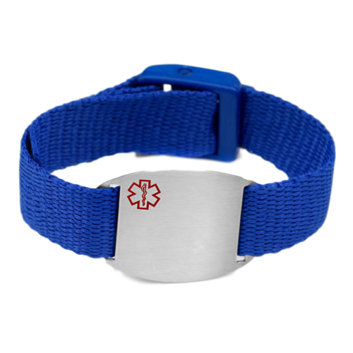 Medical bracelet, Blue. Engraving possible at the front & back.