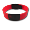 Medical Silicone bracelet, red with a black Tag. Engraving is possible on the front & back.