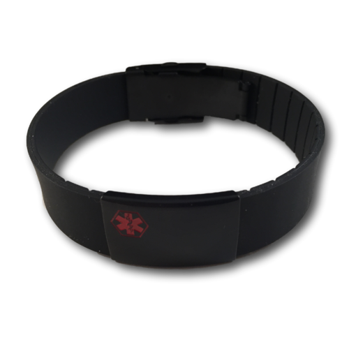 Medical Silicone bracelet, black with a black Tag. Engraving is possible on the front & back.
