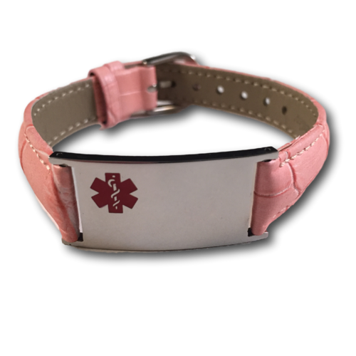 "Medical ID bracelet, Pink ""snake"" leather. Engraving possible at the front & back."