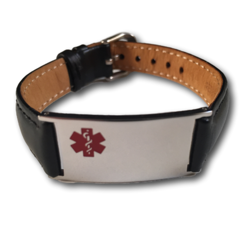 Medical ID bracelet, Black leather. Engraving possible at the front & back.