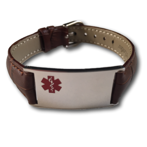 "Medical ID bracelet, Brown ""snake"" leather. Engraving possible at the front & back."