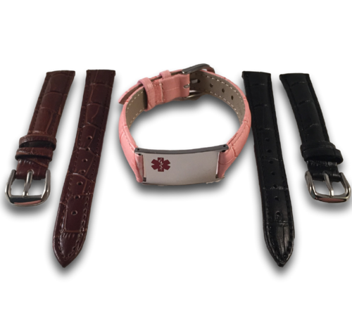 Medical ID bracelets set for women, in 3 colors leather. Engraving possible at the front & back.