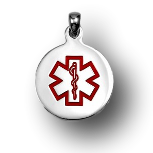 Large round charm with red medical symbol.