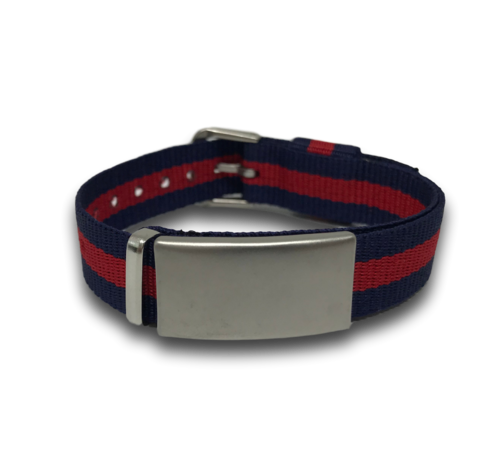 SOS ID bracelet, Blue & Red. Engraving is possible at the front and back.