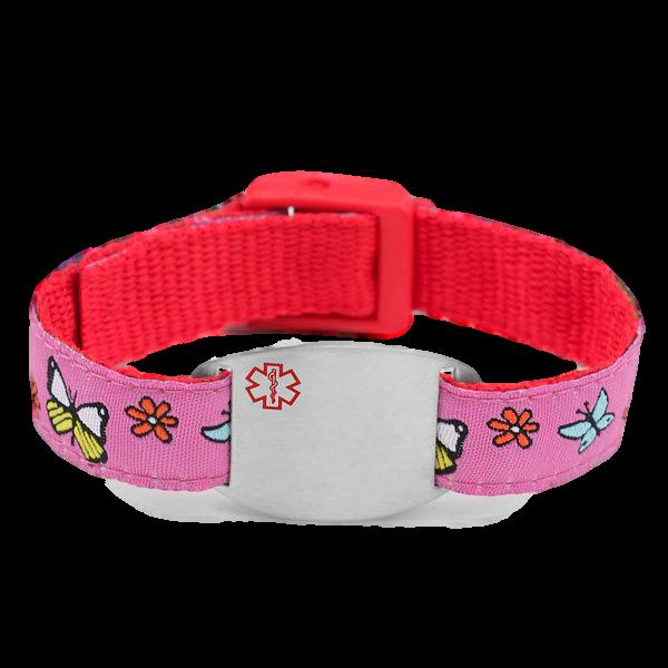 Favoriete Medische ID-armband, roze en rood met bloemetjes & vlinders @RV02
